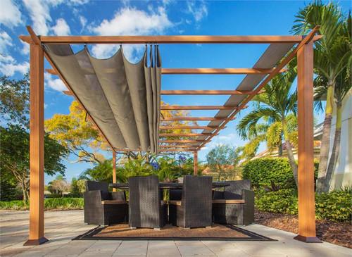 Paragon Outdoor Florence 11x16 Aluminum Pergola with Cedar Wood Grain Finish/Sand Color Convertible Canopy