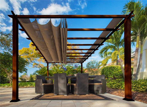 Paragon Outdoor Florence 11x16 Aluminum Pergola with Chilean Wood Grain Finish/Cocoa Color Convertible Canopy