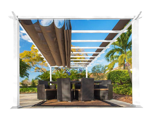 Paragon Outdoor Florence 11x16 White Aluminum Pergola/Cocoa Color Convertible Canopy