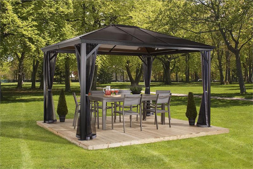 Sojag Verona 10x12 Hard Top Gazebo with Polycarbonate Roof & Mosquito Netting