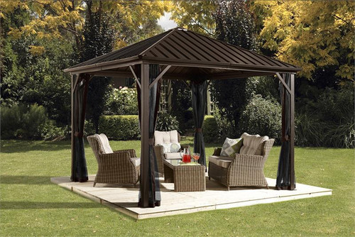Sojag Dakota 10x10 Hard Top Gazebo with Mosquito Netting
