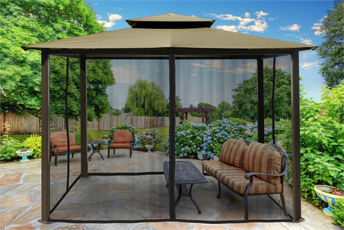 Paragon Outdoor Barcelona 10x12 Gazebo with Sand Top & Mosquito Netting