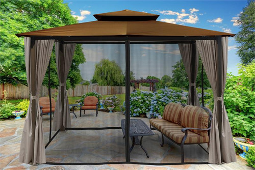 Paragon Outdoor Barcelona 10x12 Gazebo with Coca Top, Mosquito Netting, Privacy Curtains