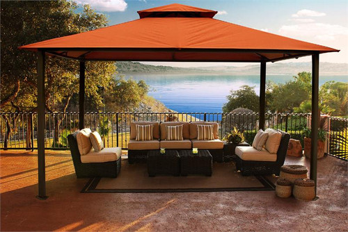 Paragon Outdoor Kingsbury 11x14 Gazebo with Rust Sunbrella Top