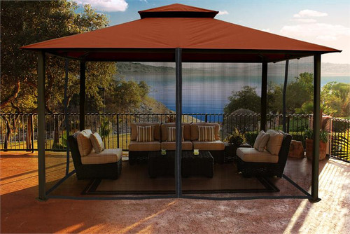 Paragon Outdoor Kingsbury 11x14 Gazebo with Rust Sunbrella Top & Mosquito Netting