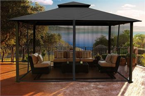 Paragon Outdoor Kingsbury 11x14 Gazebo with Grey Top & Mosquito Netting