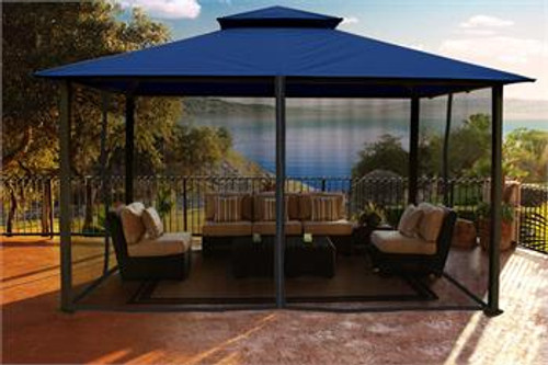Paragon Outdoor Kingsbury 11x14 Gazebo with Navy Top & Mosquito Netting