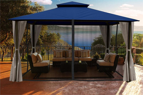 Paragon Outdoor Kingsbury 11x14 Gazebo with Navy Top, Mosquito Netting, Privacy Curtains