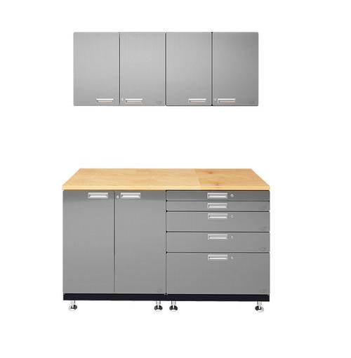 Hercke 5-Piece Stainless Steel Garage Cabinet System