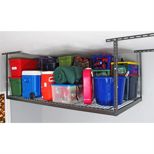 "SafeRacks 4' x 8' Overhead Storage Rack 24"" - 45"" Drop - Hammertone"
