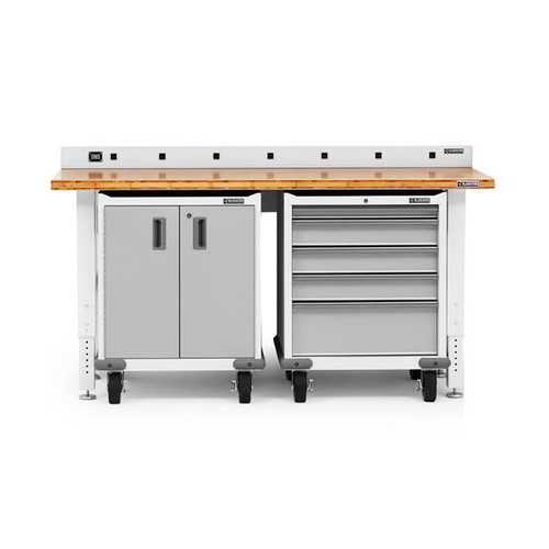Gladiator Premier Welded Steel White 3 Piece Workbench Set