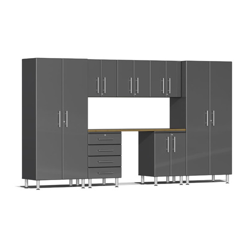 Ulti-MATE Garage 2.0 Series Grey Metallic 8-Piece Kit with Bamboo Worktop
