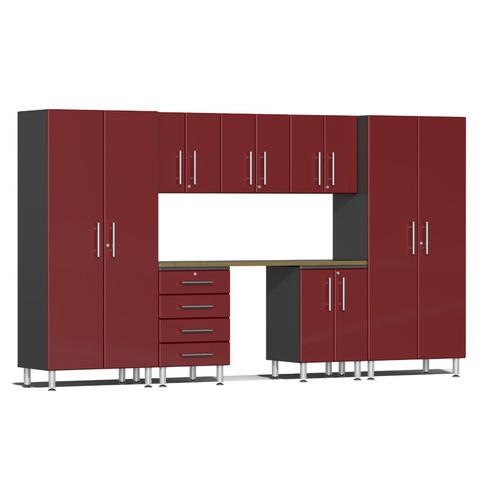 Ulti-MATE Garage 2.0 Series Red Metallic 8-Piece Kit with Bamboo Worktop
