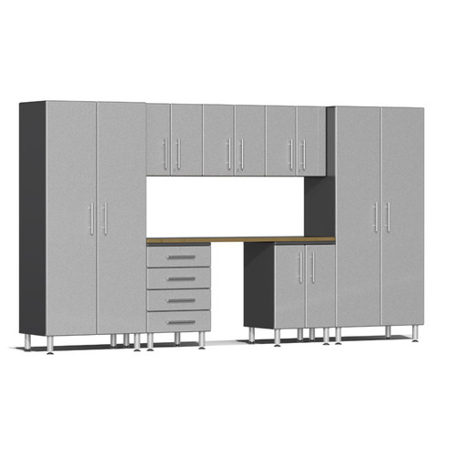 Ulti-MATE Garage 2.0 Series Silver Metallic 8-Piece Kit with Bamboo Worktop