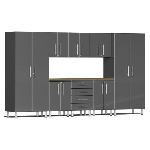 Ulti-MATE Garage 2.0 Series Grey Metallic 9-Piece Kit with Worktop