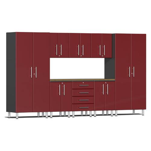 Ulti-MATE Garage 2.0 Series Red Metallic 9-Piece Kit with Worktop