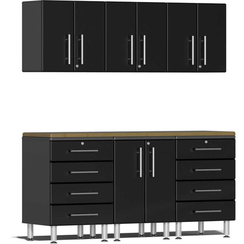 Ulti-MATE Garage 2.0 Series Black Metallic 7-Piece Kit with Bamboo Worktop