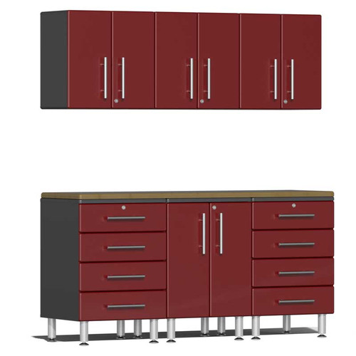 Ulti-MATE Garage 2.0 Series Red Metallic 7-Piece Kit with Bamboo Worktop
