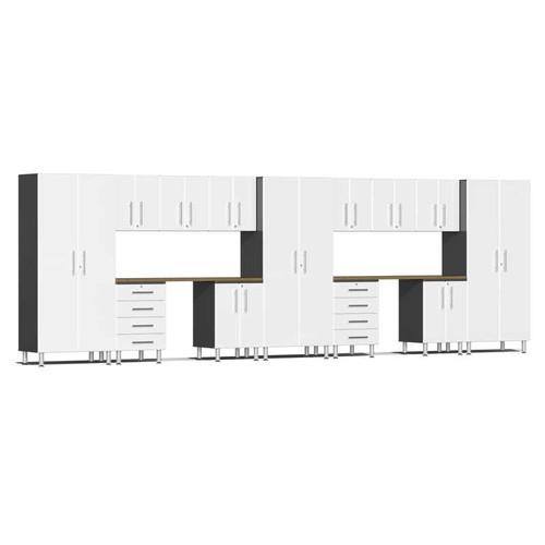 Ulti-MATE Garage 2.0 Series White Metallic 15-Piece Kit with Dual Workstation