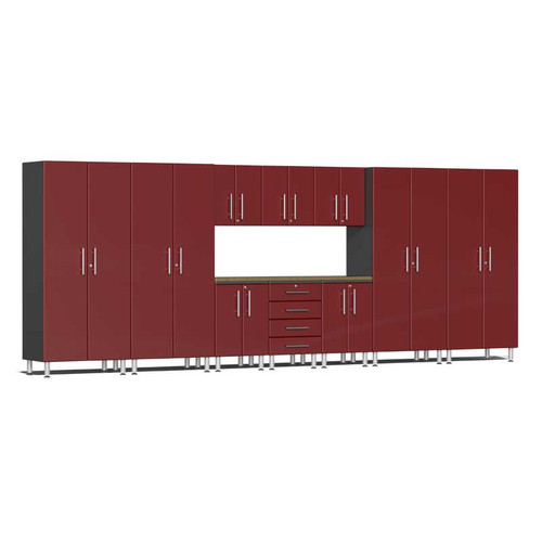 Ulti-MATE Garage 2.0 Series Red Metallic 11-Piece Kit with Bamboo Worktop