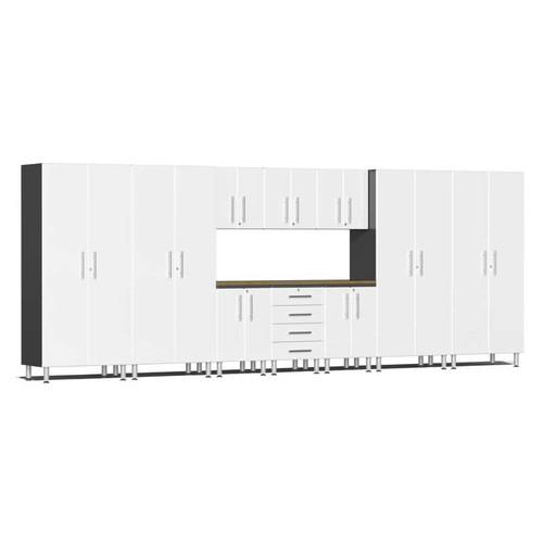Ulti-MATE Garage 2.0 Series White Metallic 11-Piece Kit with Bamboo Worktop