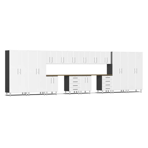 Ulti-MATE Garage 2.0 Series White Metallic 16-Piece Kit with Dual Workstation