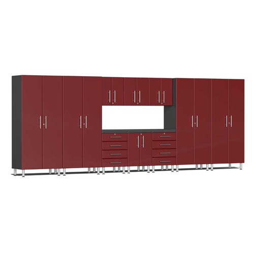 Ulti-MATE Garage 2.0 Series Red Metallic 11-Piece Kit with Workstation
