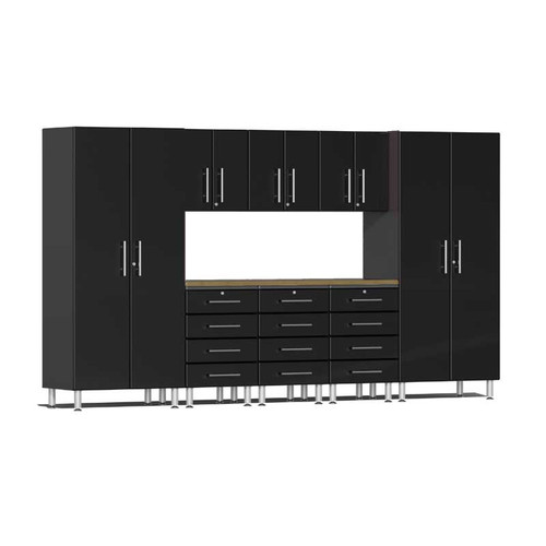 Ulti-MATE Garage 2.0 Series Black Metallic 9-Piece Kit with Bamboo Worktop