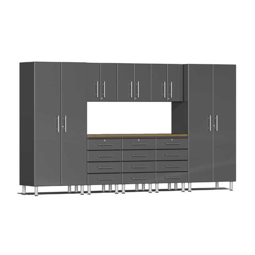 Ulti-MATE Garage 2.0 Series Grey Metallic 9-Piece Kit with Bamboo Worktop