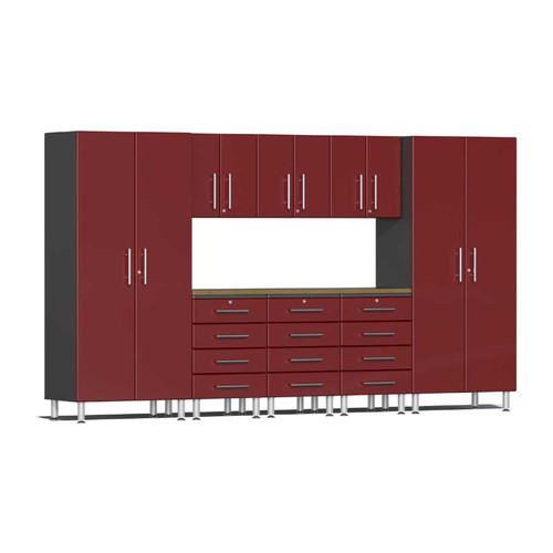 Ulti-MATE Garage 2.0 Series Red Metallic 9-Piece Kit with Bamboo Worktop