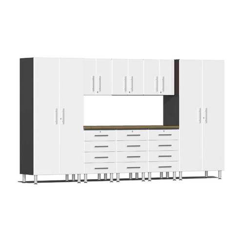 Ulti-MATE Garage 2.0 Series White Metallic 9-Piece Kit with Bamboo Worktop