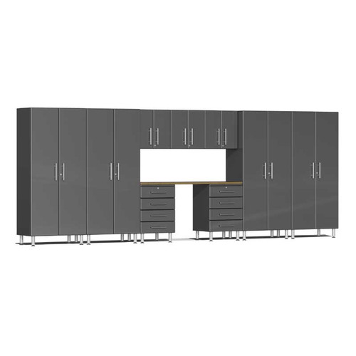 Ulti-MATE Garage 2.0 Series Grey Metallic 10-Piece Kit with Bamboo Worktop