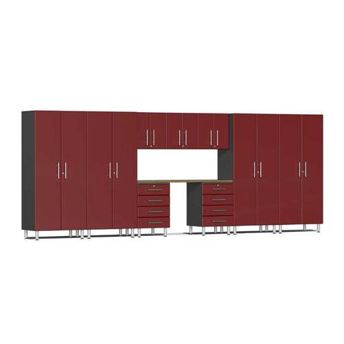 Ulti-MATE Garage 2.0 Series Red Metallic 10-Piece Kit with Bamboo Worktop