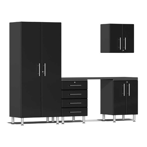 Ulti-MATE Garage 2.0 Series Black Metallic 5-Piece Kit with Workstation