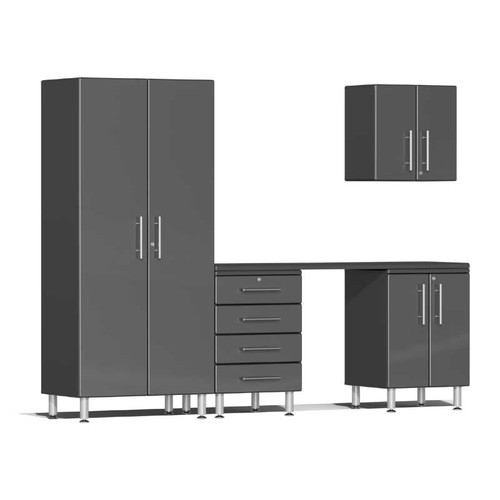 Ulti-MATE Garage 2.0 Series Grey Metallic 5-Piece Kit with Workstation