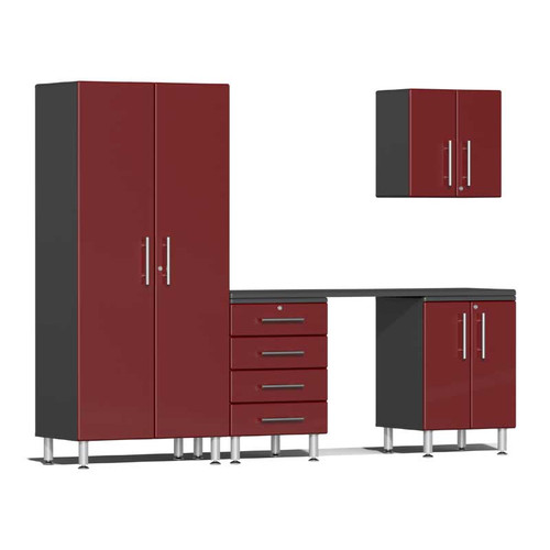 Ulti-MATE Garage 2.0 Series Red Metallic 5-Piece Kit with Workstation