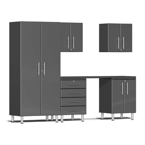 Ulti-MATE Garage 2.0 Series Grey Metallic 6-Piece Kit with Workstation