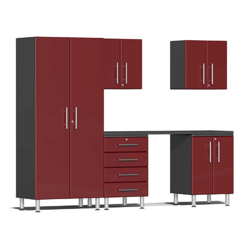 Ulti-MATE Garage 2.0 Series Red Metallic 6-Piece Kit with Workstation