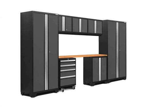 NewAge Bold 3.0 Grey 8 Piece Set w/Bamboo Worktop & LED Lights