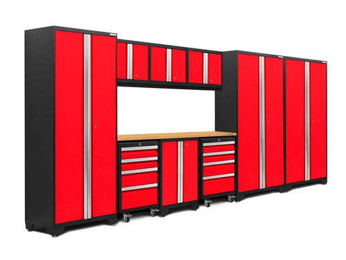NewAge Bold 3.0 Red 10 Piece Set w/Bamboo Worktop & LED Lights