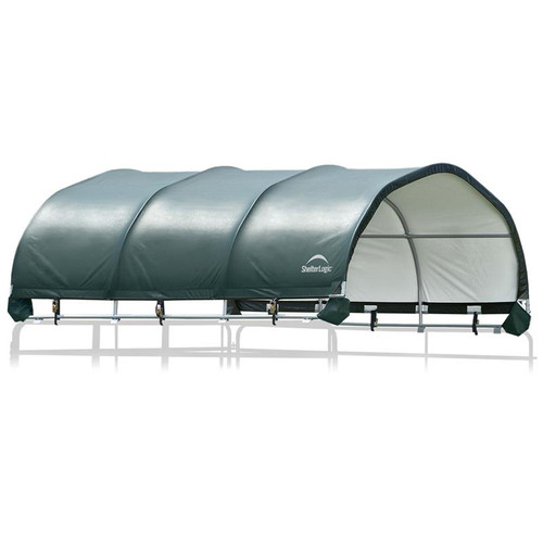 "ShelterLogic 12 x 12 ft. Corral Shelter, 1 3/8"" Steel Frame, 7.5 oz. Green Cover"