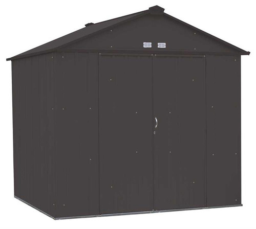 Arrow EZEE Shed Steel Storage 8 x 7 ft. Galvanized High Gable Charcoal
