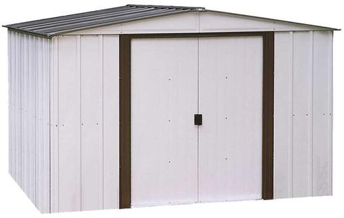 Arrow Newburgh 10 x 8 ft. Steel Storage Shed Coffee/Eggshell