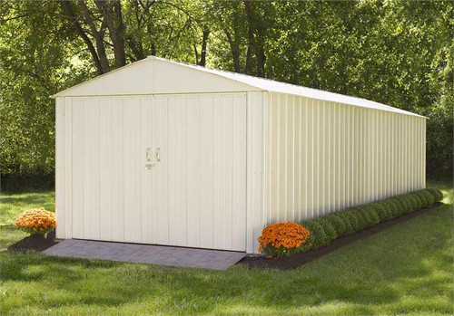 Arrow Commander 10 x 25 ft. Steel Storage Building Eggshell