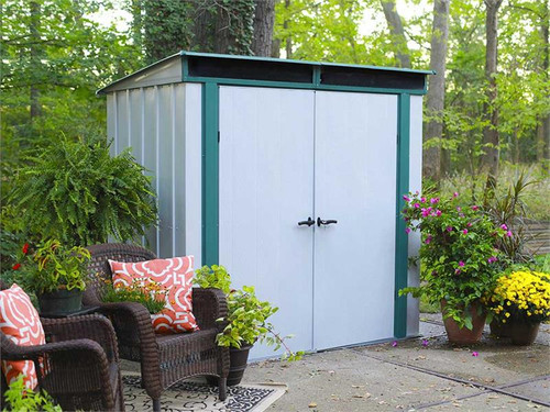 Arrow Euro-Lite 6 x 4 ft. Steel Storage Shed Pent Roof Green/Eggshell