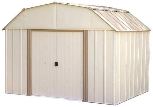 Arrow Lexington 10 x 8 ft. Steel Storage Shed Barn Style Taupe/Eggshell