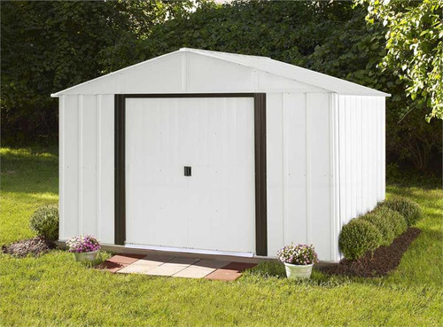 Arrow Arlington 10 x 8 ft. Steel Storage Shed Eggshell/Coffee Trim