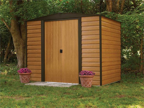 Arrow Woodridge 8 x 6 ft. Steel Storage Shed Coffee/Woodgrain