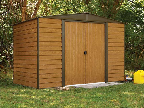 Arrow Woodridge 10 x 6 ft. Steel Storage Shed Coffee/Woodgrain