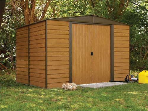 Arrow Woodridge 10 x 8 ft. Steel Storage Shed Coffee/Woodgrain